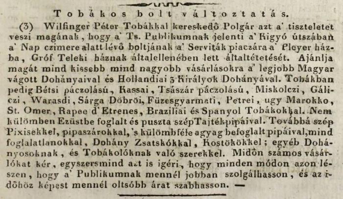 1818.03.25. Wilfinger Péter dohánykereskedő