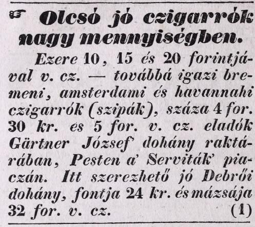 1837.01.21. Gärtner dohánykereskedés