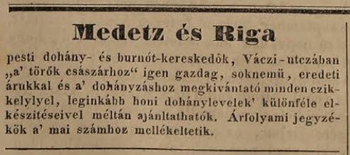 1837.11.10. Medetz és Riga dohányárusok