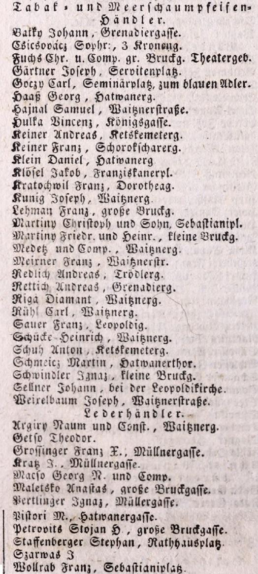 1840. Dohány és tajtékpipa kereskedők