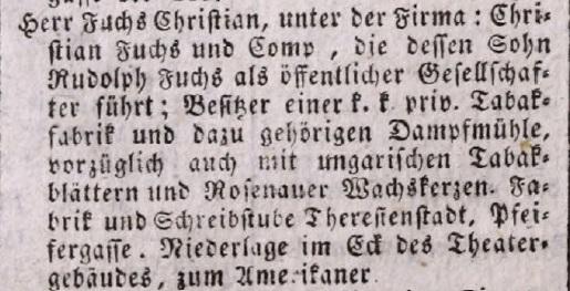1840. Fuchs et Co. dohánygyár