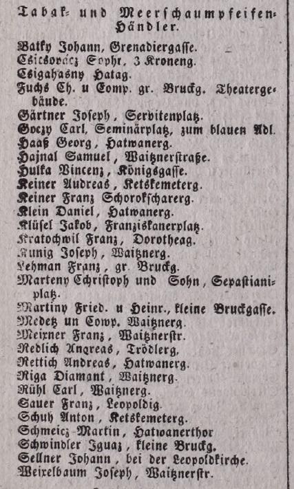 1842. Dohány és tajtékpipa kereskedők