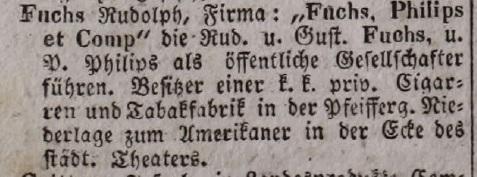 1847. Fuchs Rudolf dohánykereskedő