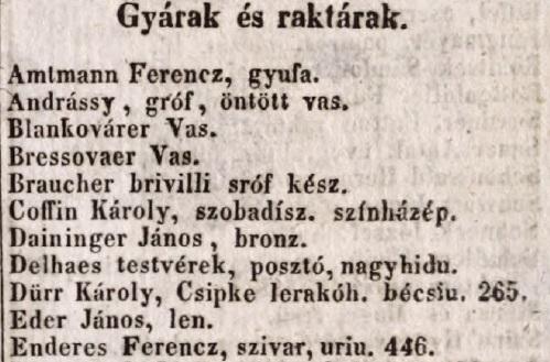 1848. Enderes Ferencz szivargyáros