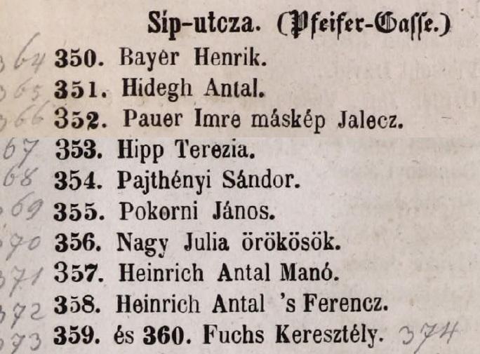 1848. Fuchs Keresztély dohánygyáros