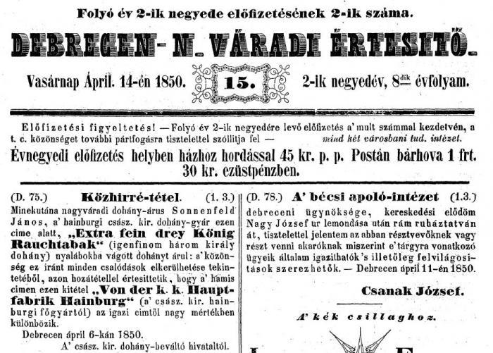1850.04.14. Három Király dohány