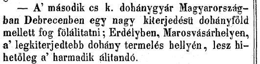 1850.07.28. Debreceni dohánygyár