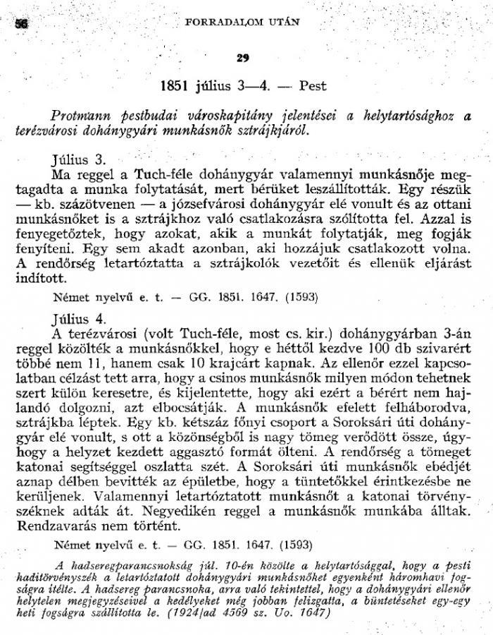 1851.07.03. Terézvárosi Dohánygyár sztrájk