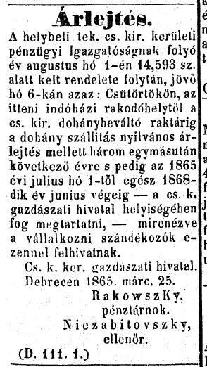 1865.04.01. Árlejtési hirdetmény