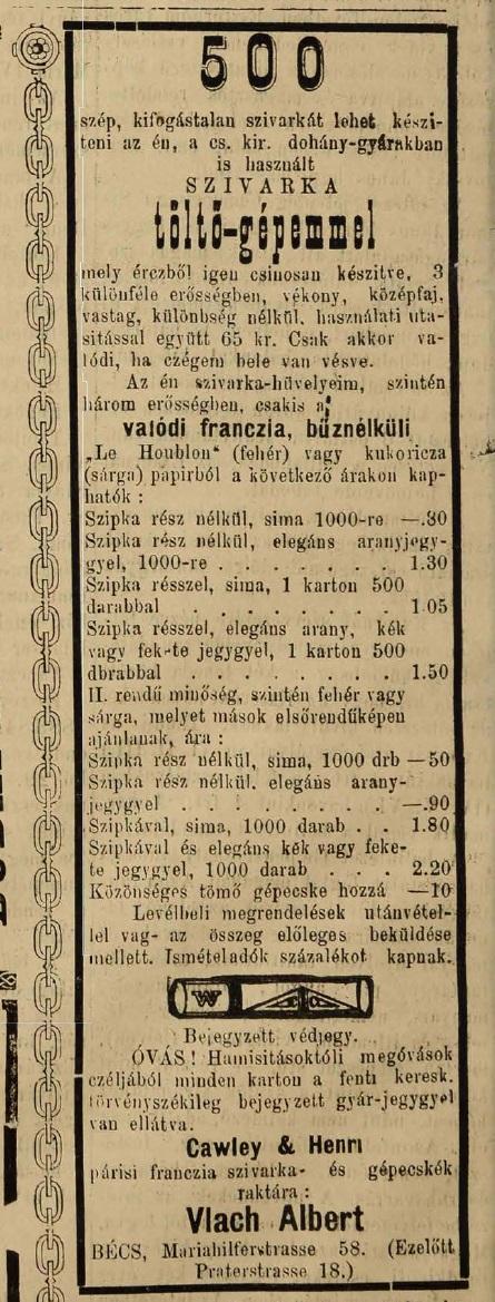 1883.06.28. Cigarettatöltő gép
