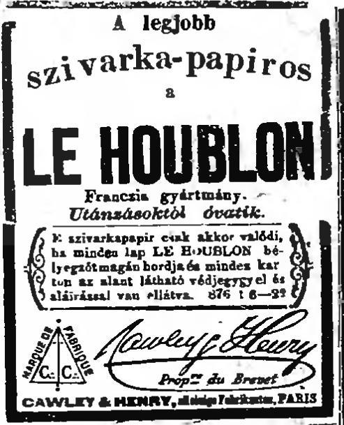 1883.10.18. Le Houblon szivarkapapír