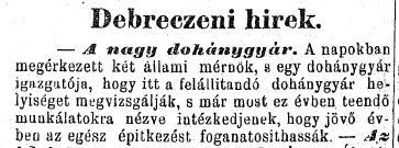 1884.06.22. Debreceni dohánygyár