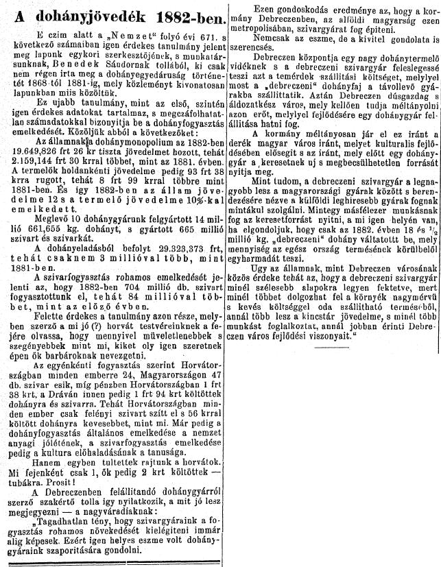 1884.08.10. A dohányjövedék 1882-ben