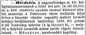 1884.12.14. Beváltási határidő