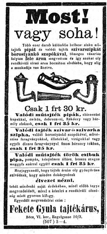 1884.12.14. Fekete Gyula tajtékárus