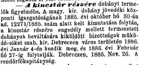 1885.12.06. Dohánybeváltás