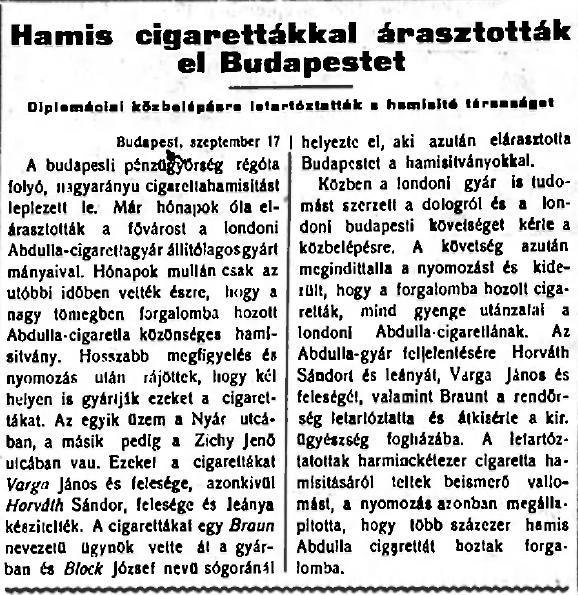 1926.09.13. Hamis cigaretták