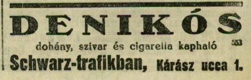 1928.08.11. Denikós dohányáru