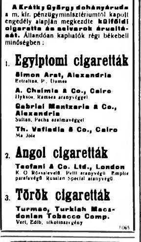 1928.10.14. Külföldi cigaretták