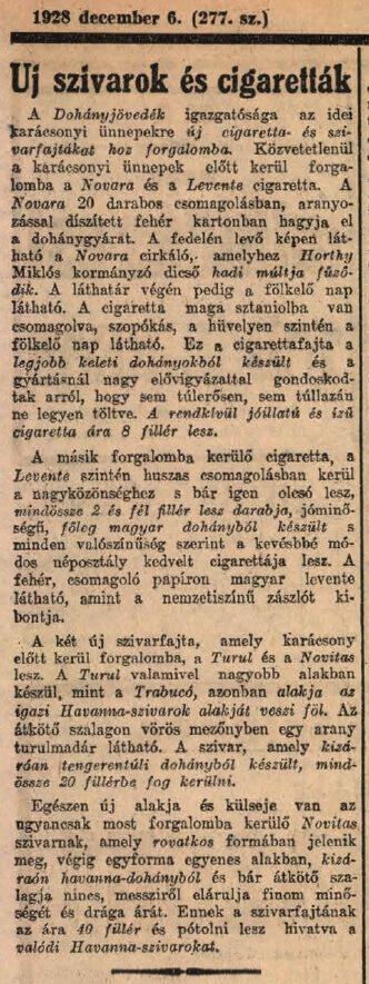 1928.12.06. Új szivarok és cigaretták