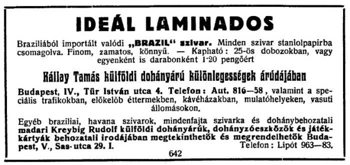 1929.11.24. Ideal Laminados szivar