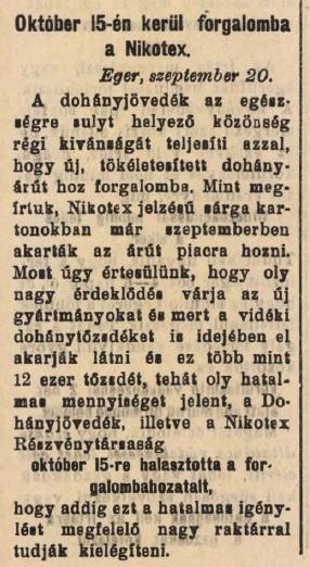 1930.09.21. Nikotex dohányáruk