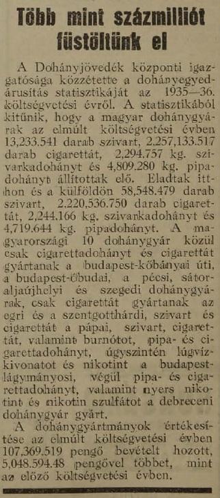 1937.08.10. Százmillió pengő vált füstté