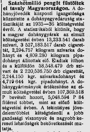 1937.08.26. Százhétmillió pengő