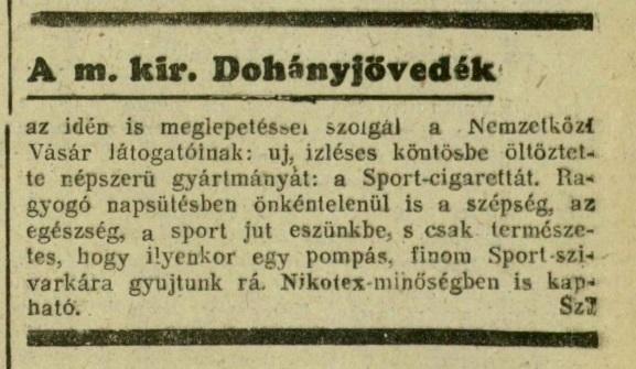 1939.04.30. Sport cigaretta a Vásáron