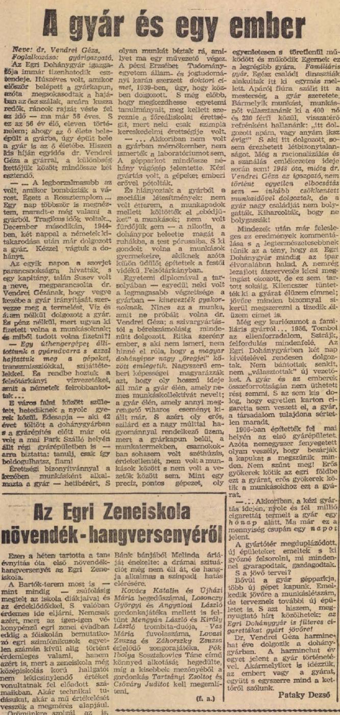 1964.11.13. Egri Dohánygyár