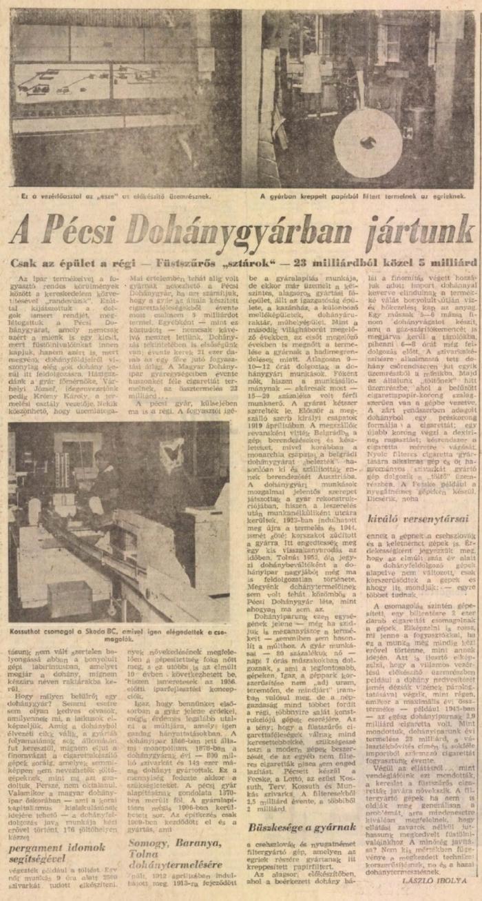 1970.06.06. Pécsi dohánygyár