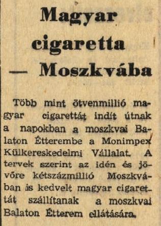 1972.07.16. Magyar cigaretták Moszkvában