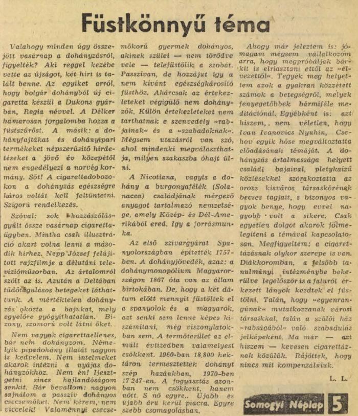 1974.10.29. Füstkönnyű téma