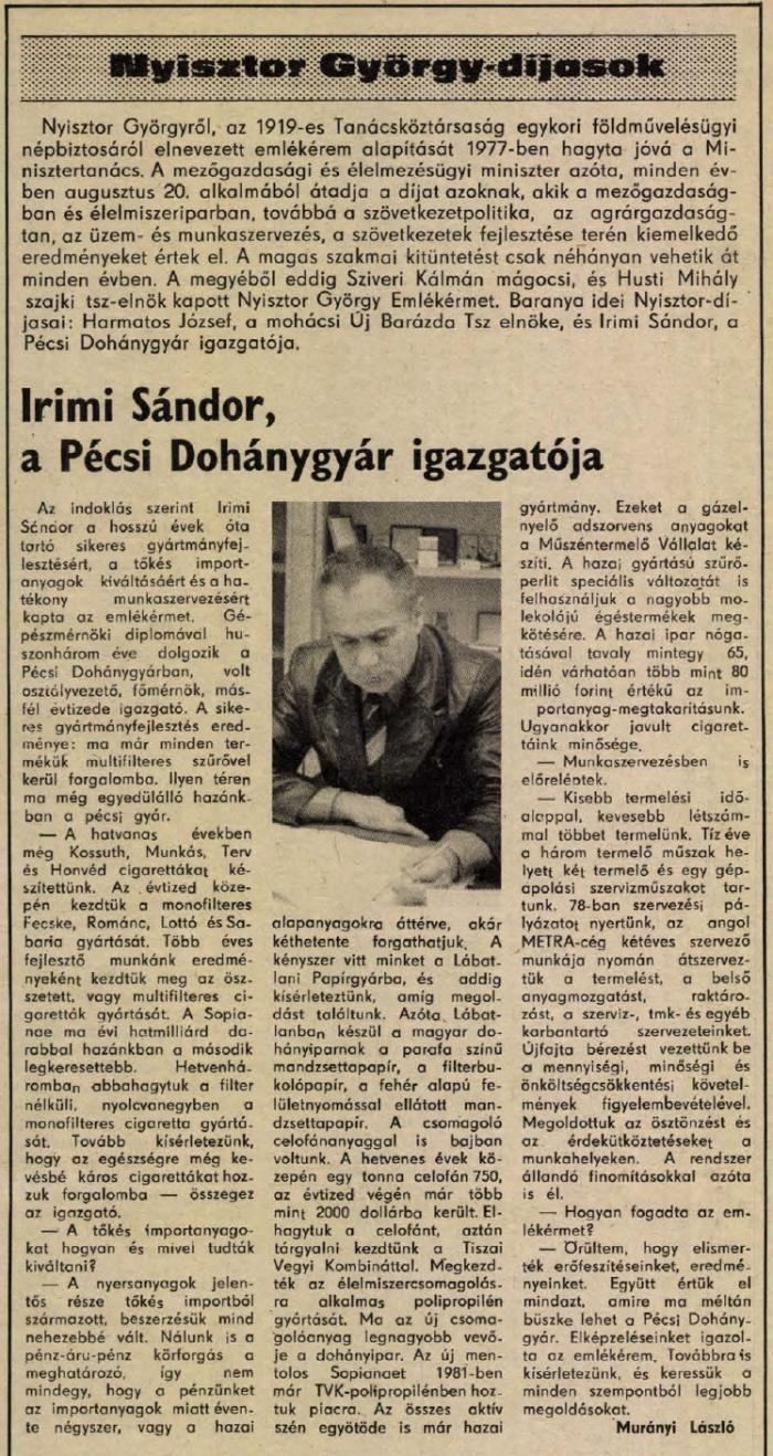 1983.10.15. Pécsi Dohánygyár