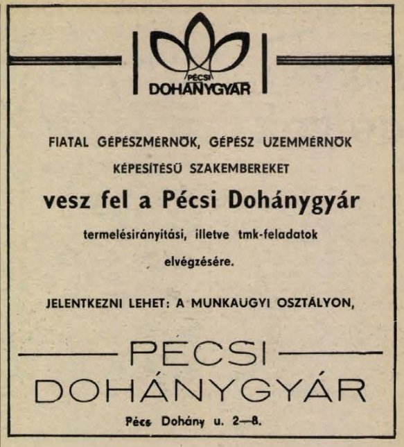 1984.12.01. Pécsi Dohánygyár