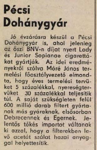 1984.12.08. Pécsi Dohánygyár