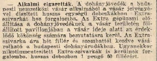 1931.05.09. Alkalmi Extra cigaretta