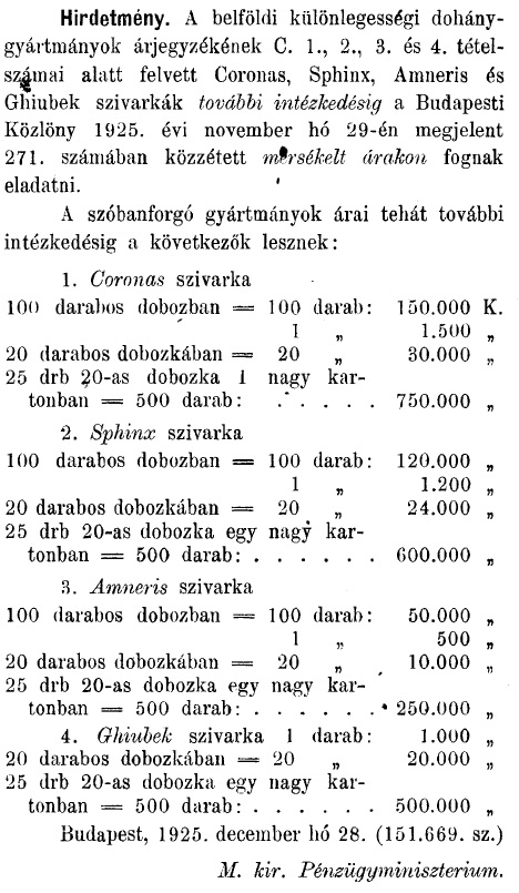 1926.01.01. Árak mérséklése
