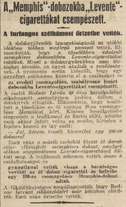 1931.05.08. Cigarettás csalás