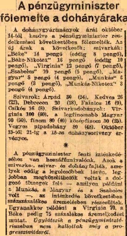 1945.10.14. Dohány áremelés