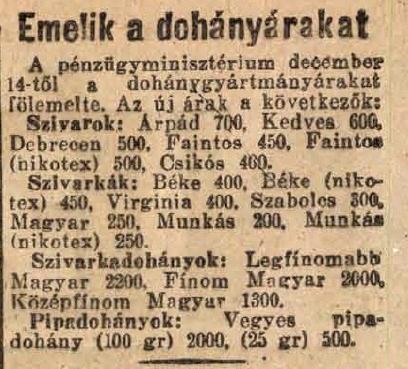 1945.12.14. Dohány áremelés