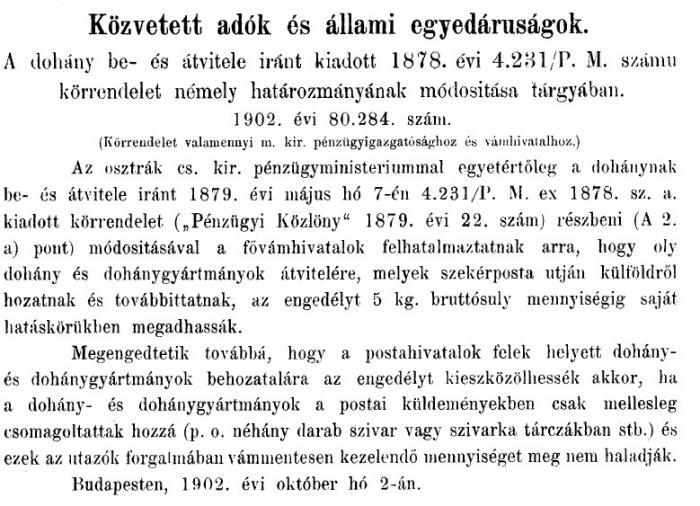 1902.10.10. Határozmány módosítása