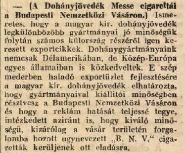 1926.02.19. Dohányjövedék a Vásáron