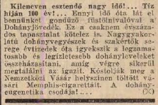 1941.05.09. Dohányjövedék a Vásáron