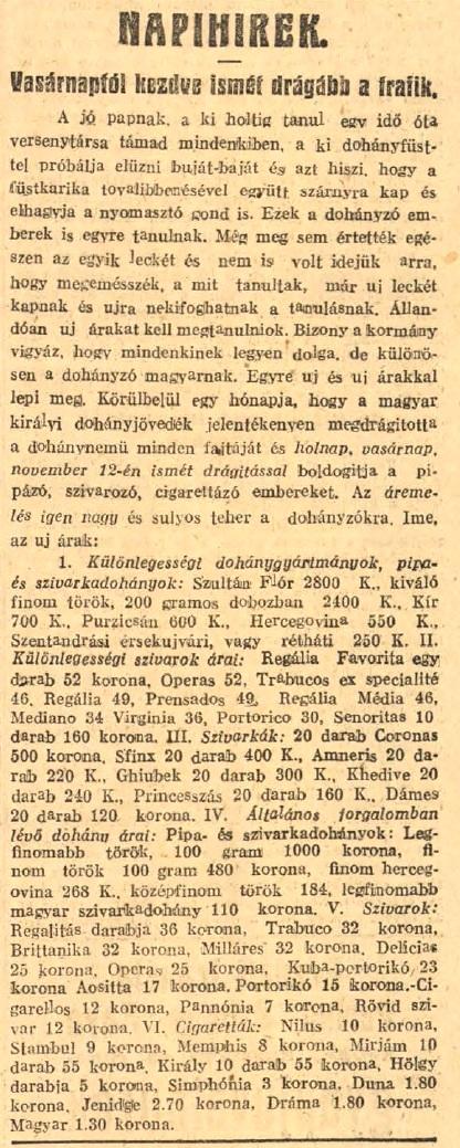 1922.11.12. Drágul a trafik
