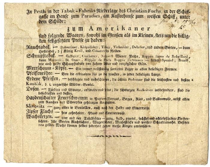 Fuchs Keresztély számlája, 1825.