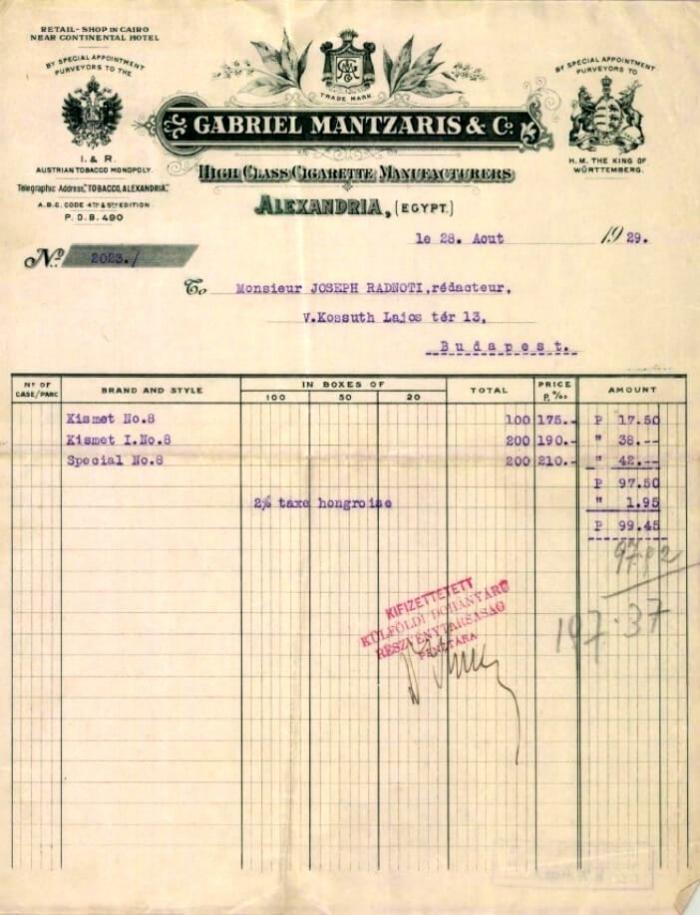 Gabriel Mantzaris & Co. számlája