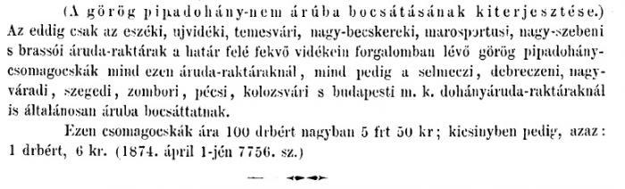 1874.04.15. Görög pipadohány