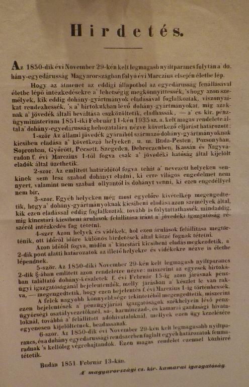 1851. Hirdetés az egyedáruságról