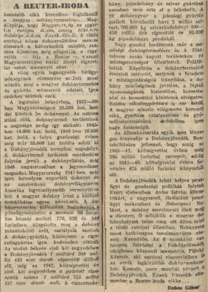 1947.10.16. Magyar dohánytermelés